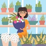 女性卖花人在商店 库存例证