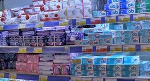 女性卫生学方面的产品 库存照片