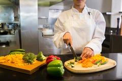 女性厨师切口菜在厨房里 库存图片