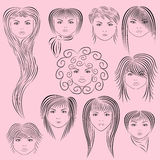 女性发型向量例证 免版税库存照片