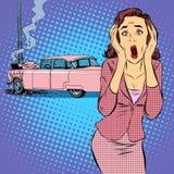 女性司机车祸 向量例证