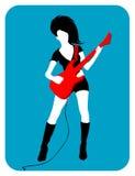 女性吉他弹奏者 免版税库存照片