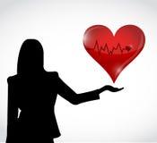 女性和红色保险索心脏例证设计 图库摄影
