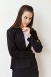 女性商业主管重音或消极心情 免版税图库摄影