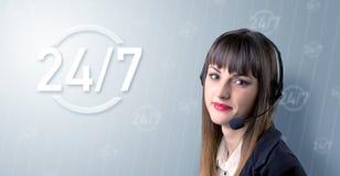 女性图象查出的工作室电话推销员年轻人 图库摄影
