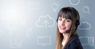 女性图象查出的工作室电话推销员年轻人 免版税图库摄影
