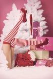 女性圣诞老人的腿 图库摄影
