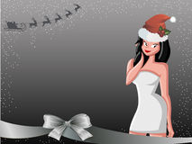 女性圣诞老人 免版税图库摄影