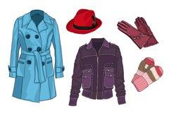 女性壁橱 外衣 戴米季节衣裳 帽子和辅助部件 向量 免版税图库摄影