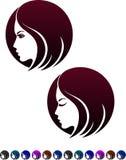 女性外形,女性发型的标志 库存照片