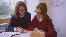 女性大学生在一起学会咖啡馆两的女朋友学习 影视素材