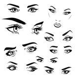 女性妇女眼睛和眉头图象汇集集合 时尚女孩眼睛设计 也corel凹道例证向量 库存图片