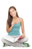 女性学习认为的查出的学员 免版税库存图片