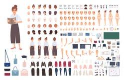 女性学校教师创作成套工具或DIY集合 捆绑妇女` s身体元素,姿势,姿态,被隔绝的衣裳  库存例证