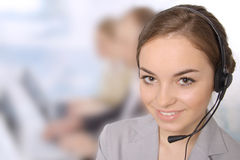 女性客户服务代表特写镜头  图库摄影
