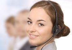 女性客户服务代表特写镜头  免版税库存图片