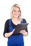 女性工匠/女工匠有数字式片剂的 库存图片