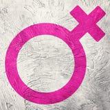 女性性别标志 减速火箭的样式 免版税库存图片