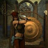 女性战斗猎人姿势 免版税库存图片