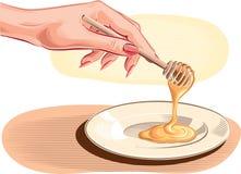 女性手倾吐的蜂蜜 免版税库存图片