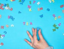 女性手和英语字母表的多彩多姿的木信件 免版税库存照片
