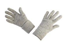 女性手套查出羊毛 免版税图库摄影
