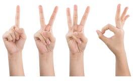 女性手展示打手势在白色背景隔绝的1 2 3 OK 图库摄影