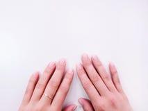 女性手有理想的修指甲顶视图 库存图片