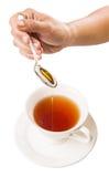 女性手混合的蜂蜜用茶IV 库存图片