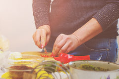 女性手裁减食物 免版税库存照片
