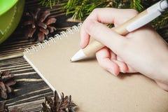 女性手,笔,笔记本,在圣诞节装饰背景 库存照片