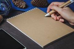 女性手,笔,笔记本,在圣诞节装饰背景 库存图片