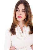女性折叠递她的设计年轻人 免版税图库摄影
