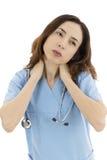 女性护士或医生疲倦和劳累过度 库存照片