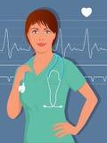 年轻女性护士或医生洗刷 免版税库存图片