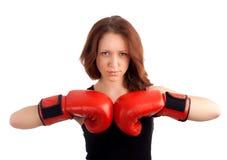 年轻女性拳击手 库存照片