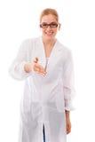 女性握手的科学家提供的手 免版税库存照片