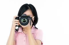 女性摄影师年轻人 免版税库存图片