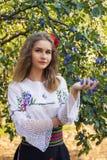 年轻女性摆在传统塞尔维亚人 库存照片