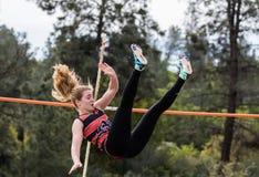 女性撑竿跳选手 库存图片