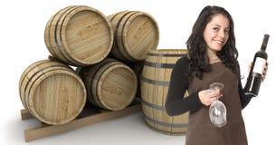 女性斟酒服务员 免版税库存图片