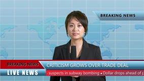 女性新闻船锚在演播室 股票视频