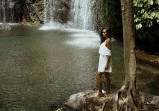 女性旅游享用的瀑布 库存图片