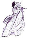 女性时尚例证剪影用不同的衣裳 免版税库存图片