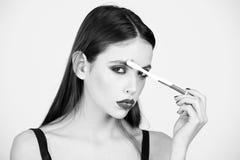 女性时尚概念 构成和skincare、秀丽和时尚,牙齿卫生学 免版税图库摄影