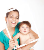 女性暂挂的儿子 图库摄影