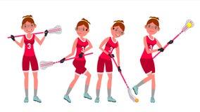 女性曲棍网兜球球员传染媒介 Profesional体育 拿着曲棍网兜球棍子 女孩s曲棍网兜球球员 查出在白色 向量例证