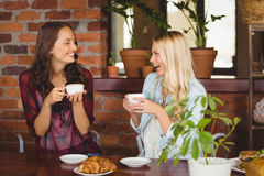 女性朋友喝咖啡在咖啡店 免版税图库摄影