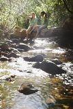女性朋友坐在森林小河的日志 免版税库存图片