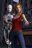女性机器人和人的妇女例证 免版税库存照片